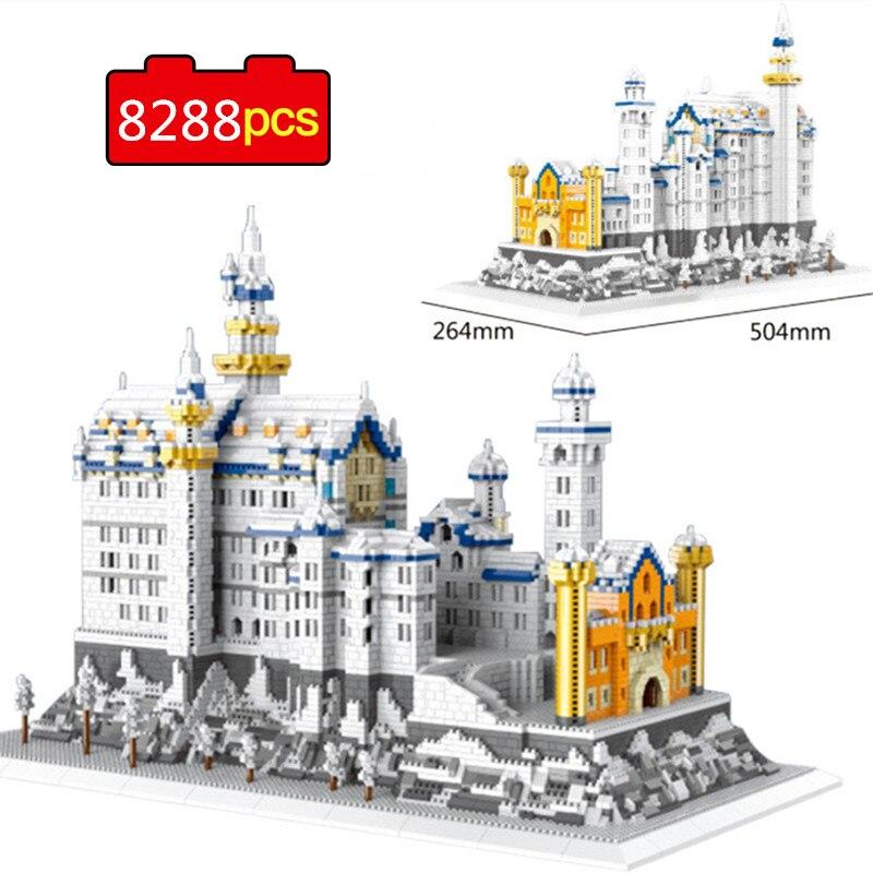 8288pcs Snowing Swan Castle Building Blocks Diamond Architecture Micro Bricks Toys for Children Christmas Gift Educational Toy